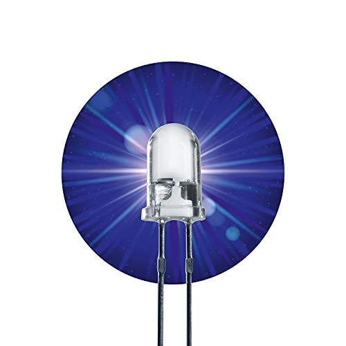 Lumetheus LED 5mm Farbe blau 15000 mcd 50 Stück Blaue Leuchtdioden ca. 3V Diode 2 Pin LEDs Gehäuse klar