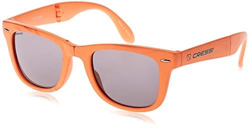 Cressi Taska, Lunettes Soleil de Poche Pliable, Polarisées 100% Anti-UV Pour Adultes, avec étui rigide , Orange/Lentilles Gris Foncé