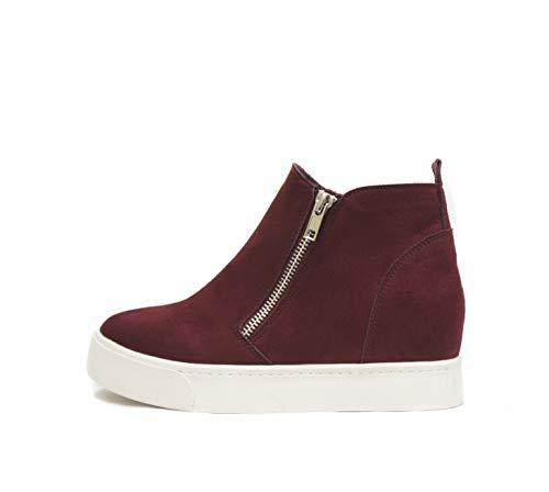Soda Taylor Hidden Wedge Sole Booties Ankle Heels Sneaker Shoes Side Zipper (8.5, Vino Suede)