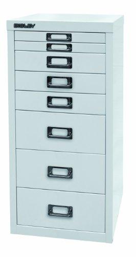 BISLEY Schubladenschrank 29 aus Metall mit 8 Schubladen | Schrank für Büro, Werkstatt und Zuhause | Stahlschrank in 11 Farben (Weiß)