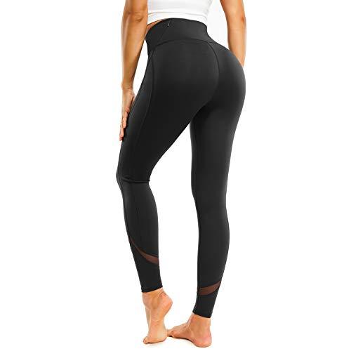 LEINIDINA Womens Mesh Yoga Pants High Waisted Tummy Control Workout Leggings with Pockets Full-Length (Black, Medium)