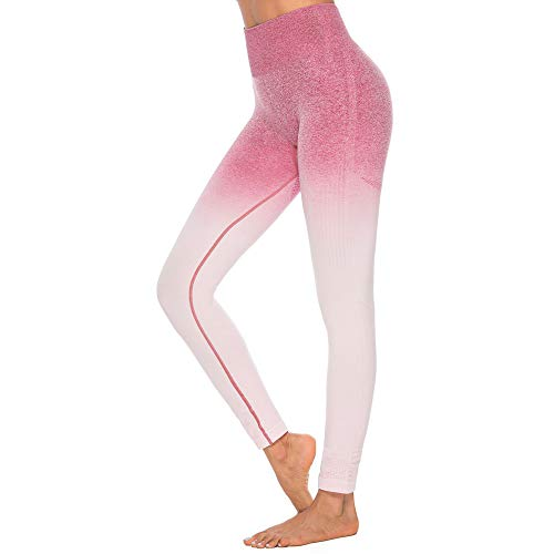 only storerine Damen Hohe Taille Sport Leggings, Damen Farbverlauf Gradation Tie-Dye-Hüft Sport Leggings, Yoga Sporthose, Damen Leggings, Classics Stretch Workout Fitness Jogginghose