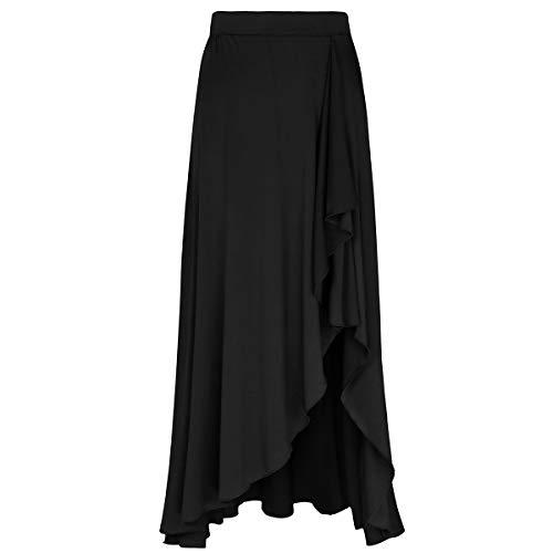 MSemis Falda Flamenco para Mujer Falda Larga Fiesta Cóctel Vintage Faldas Volantes Chica Falda Gitana Sevillana Ropa Bailarina Práctica Rendimiento Casual Playa Negro Large