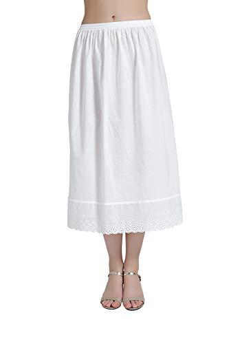 BEAUTELICATE Mujer Enaguas de Algodón Corta Larga Antiestática Combinación para Vestido Antideslizante Plain Falda Marfil con Encaje Dobladillo (Marfil-80CM Longitud, L)