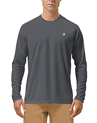 Roadbox Men's Sun Protection UPF 50+ UV Outdoor Long Sleeve Dri-fit T-Shirt Rashguard Shirts for Running, Fishing, Hiking (Dark Gray, Large)