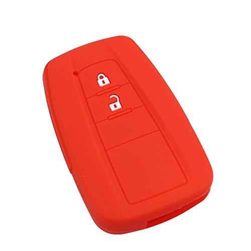 Happyit Silicone Clé De Voiture Housse pour Toyota CHR C-HR Camry Prius Prado 2 Touche sans Clé Smart Key (Rouge)