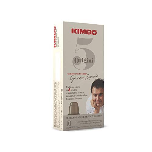 Kimbo Capsule di Caffè - Compatibili Nespresso - 5 Origini Miscela unica (10 Confezioni da 10 Capsule, Totale 100 Capsule)