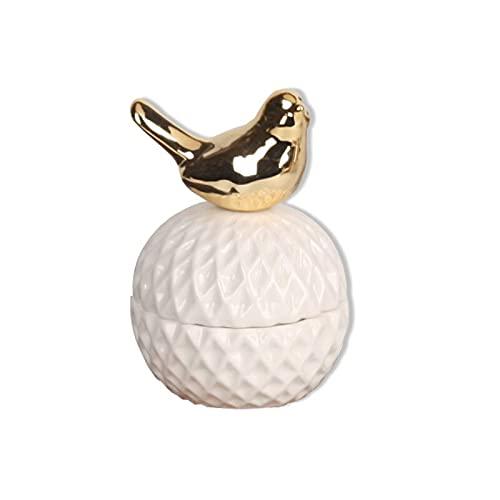 LANL Caja de almacenamiento de joyas de animales de cerámica dorada nórdica, collar y pendientes de maquillaje, organizador de escritorio para mujeres Día de San Valentín