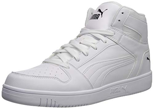 PUMA Rebound Layup Shoe, White Black, 7.5 M US