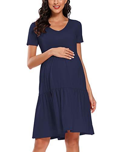 Liu & Qu Women Short Sleeve Maternity Dress V-Neck Casual Flowing Tunic Dress Navy