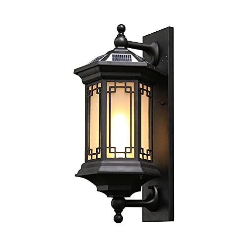 MOLIH Lámpara de Pared Aplique de Pared Linterna de Pared, Estilo Chino, Exterior, Simple, Negro, Luz Solar para Montaje en Pared, Cuerpo de Lámpara de Aluminio Fundido a Presión con Pantalla de Vidr