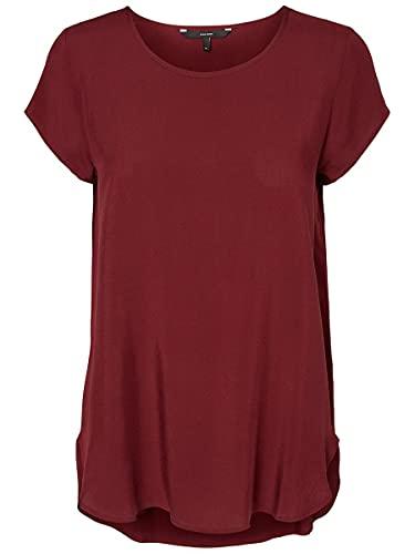 VERO MODA Damen Boca Ss Blouse Ga Noos T-Shirt, Cabernet, M