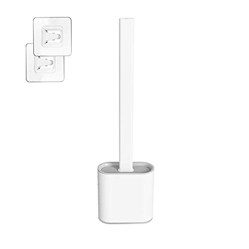 Scopino per WC, spazzola per WC in silicone e supporto, spazzola per WC con supporto, montaggio a parete, per bagno, pulizia profonda e supporto ad asciugatura rapida (bianco)