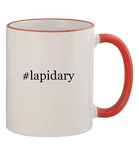 #lapidary - 11oz Colored Handle and Rim Coffee Mug, Red