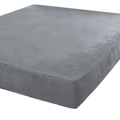 Coprimaterasso impermeabile in velluto di vetro, lenzuolo con angoli impermeabile a 5 lati, coprimaterasso con fascia elastica traspirante e sigillante grigio, 100 x 200 – 120 x 200 cm