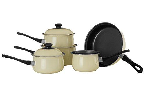 Premier Housewares - Batería de Cocina Antiadherente de 5 Piezas, Color Crema de Acero de Carbono