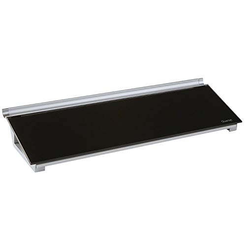 Quartet Glass Desktop Computer Pad, 18' x 6', Dry Erase Surface, Accessory Tray, Black (GDP186B)