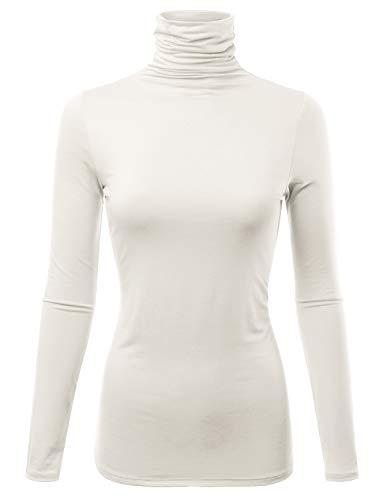 FASHIONOLIC Womens Premium Long Sleeve Turtleneck Lightweight Pullover Top Sweater (CLLT002) Ivory 2X