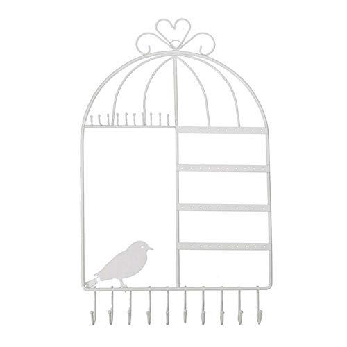 Dequate Soporte De Metal Para Joyas - Colgador Para Collares Y Pendientes De Diseño De Jaula De Pájaros, Soporte De Joyería Organizador De Joyas Para Pared Para Aretes, Pendientes, Collares, benchmark