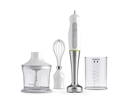 Kenwood Triblade System Stabmixer mit Spritzschutz, 0,5 Liter BPA-freier Kunststoffbecher, 0,5 Liter Zerkleinerer, Edelstahl-Schneebesen, 600 W, HDP109WG, weiß