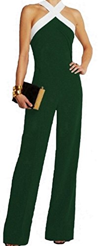 emmarcon Tuta Bicolore con Pantaloni Lunghi a Zampa Vestito Abito da Cerimonia Donna Elegante Casual partyGreen-XXL