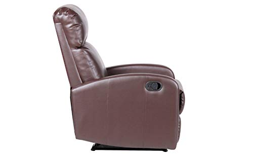 EVRE Recliner Arm Chair with Adjustable Leg Rest and Reclining Functions - PU Leather (Brown)