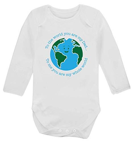 Flox Creative T-shirt à manches longues pour bébé Inscription Dad You are My Whole World - Blanc - S