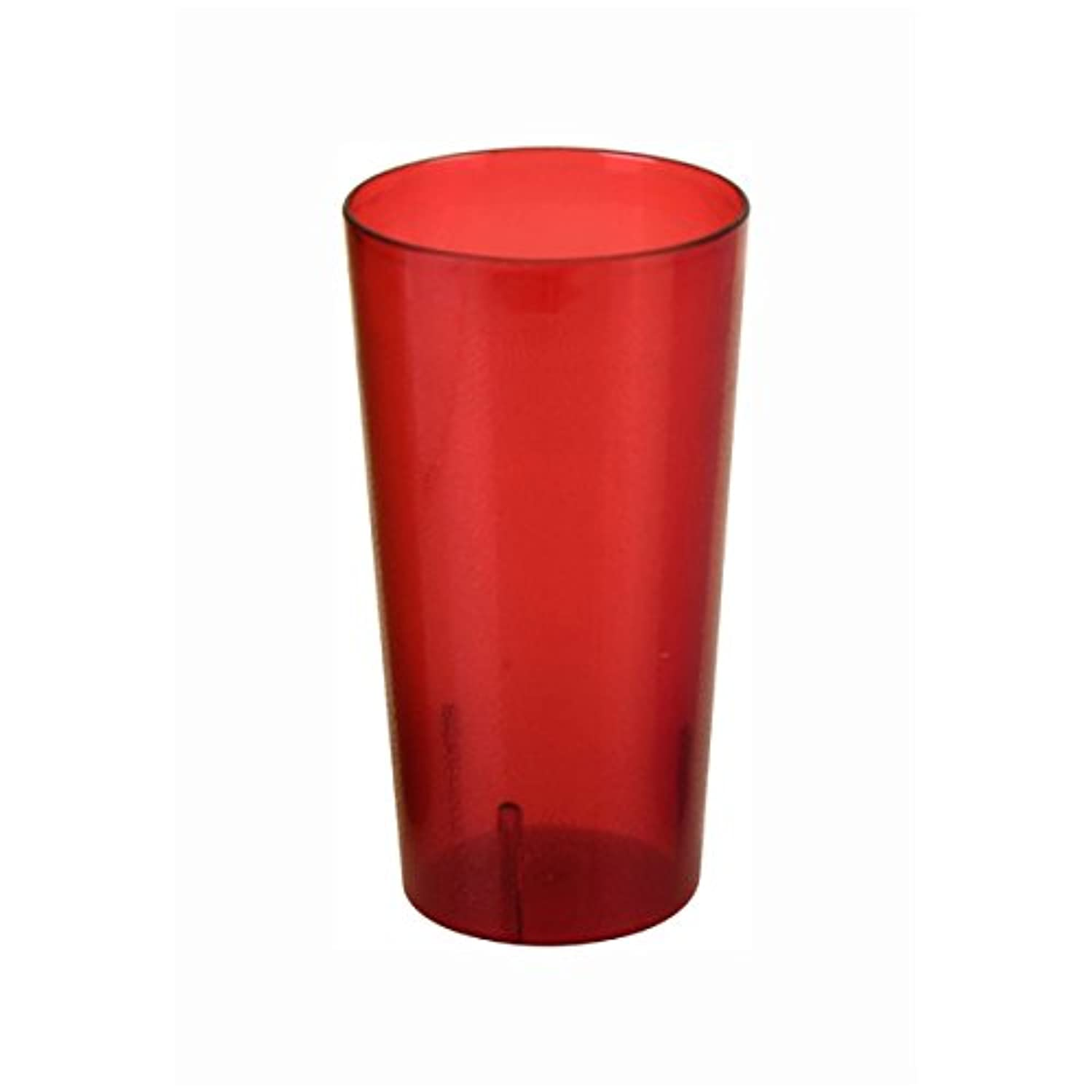 Plastic Tumblers, Shatter Proof Cups, For Restaurant, Lunchroom, Cafeteria, Bar - Pack of 12 (24 oz, Red)