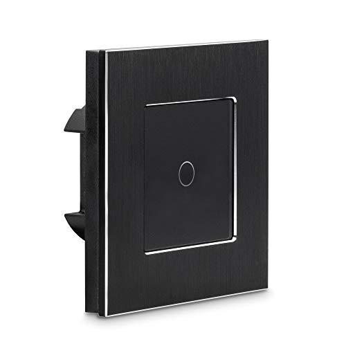 Navaris Interruptor táctil de pared - Llave de luz con pantalla táctil - Conmutador de cristal con sensor al tacto - Pulsador de vidrio color negro