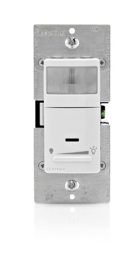 Leviton IPVD6-1LZ Decora Vacancy Motion Sensor In-Wall Dimmer, Manual-On, 2.5A, Single Pole or 3-Way, White/Ivory/Light Almond