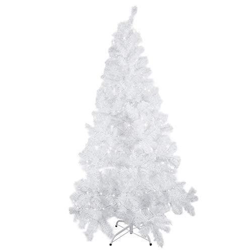 Mbuynow Albero di Natale 1,8 m, 600 Rami, con Supporto in Metallo, Facile da Montare,con 1,5M String Lights Indoor Outdoor Albero di Natale Tradizionale Decorazioni per la Casa di Natale(Bianco)