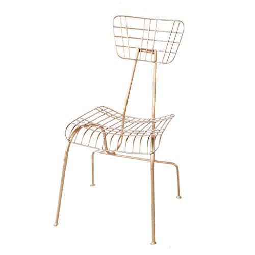 Sillas para cómoda, Silla Nordic Barbed Wire Hollow Talk Hierro Forjado Creativo Simple Dining Gold Home Modern Metal