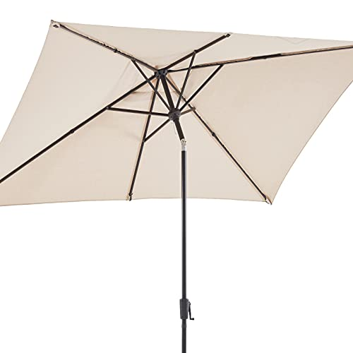 BLUU Olefin Rectangular Patio Market Umbrella Outdoor Table Umbrellas, 3-year Nonfading Olefin Canopy, Market Center Umbrellas with Push Button Tilt for Garden, Lawn & Pool (6.6 x 9.8 FT, Cream Beige)