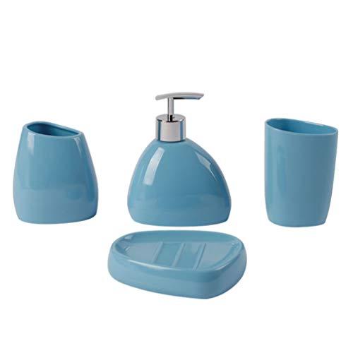 FRCOLOR Set da bagno in acrilico, 4 pezzi, tazza da bagno, bicchiere, spazzolino, portasapone, shampoo, lozione, pompa bottiglia, accessorio (blu)