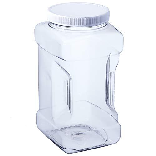 Hudson Exchange 1 Gallon Plastic Grip Jar with Cap, PET, Clear, 4 Pack