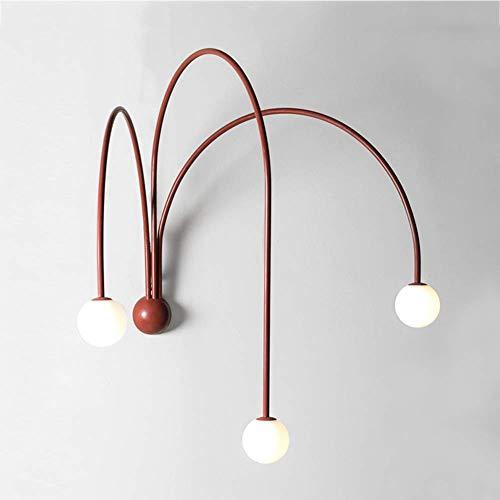Lámpara de pared moderna con pantalla de globo de vidrio blanco, aplique de pared, estilo nórdico, 3 luces, diseño de arte de hierro, lámpara de pared para sala de estar / baño / sala de estudio, dora