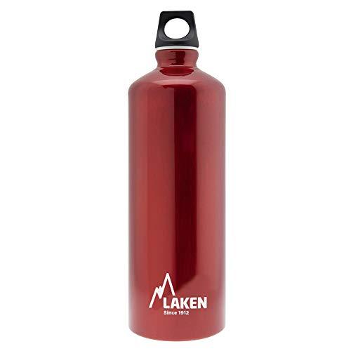 Laken Futura Borraccia di Alluminio, Bottiglia d'acqua con Apertura Stretta e Tappo a Vite con Anello 1L, Rosso