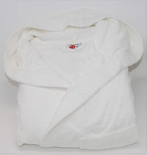 TA-A badjas van hydrofiele badstof met capuchon, uniseks, extra grote maten, artikelnummer: Maxi, effen uitvoering (Bianco, 3 XL)