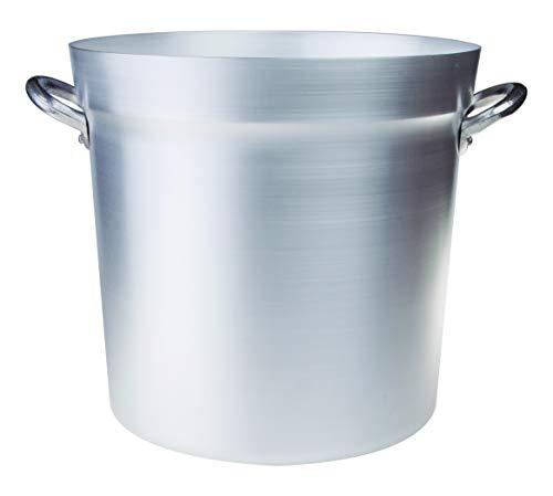 Pentole Agnelli FAMA85BS46 Olla de tomate de aluminio con 2 asas, tipo norte, diámetro 46 cm, 76.5 litros, plata