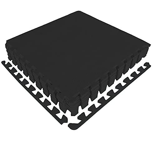 diMio Sport-Schutzmatten - Puzzlematten inkl. Randstücke in Blau, 8 Puzzleteile à 50x50cm, Trainingsmatte/Schutzmatte/Unterlegmatte/Fitnessmatte/Bodenschutz Matte - wasserfest (Schwarz, 1er Set)
