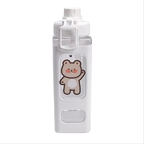 Botella de agua Botella De Agua De Oso Kawaii De 700 Ml Sin Bpa Con Paja, Plástico Deportivo, Bonita Botella De Bebida Escolar Para Niña, Tazas De Té De Jugo Lindo