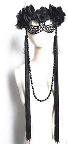 1yess Halloween-Maske Schwarz gefransten Spitze Mode-Parteischablone Halloween-Ausschnitt-Maske