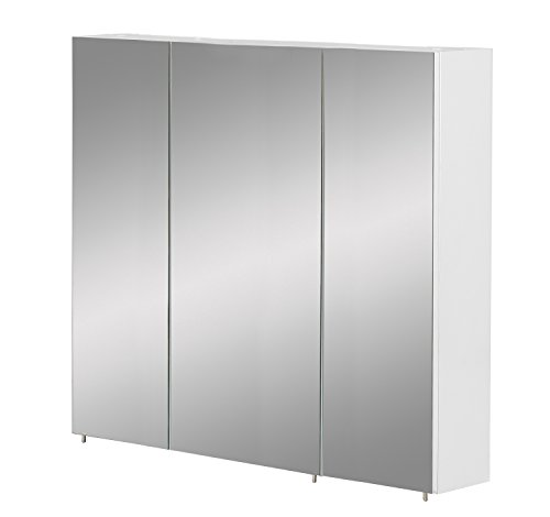 Schildmeyer Basic Spiegelschrank ohne Beleuchtung, melaminharzbeschichtete Spanplatte, weiß Glanz, 90 cm