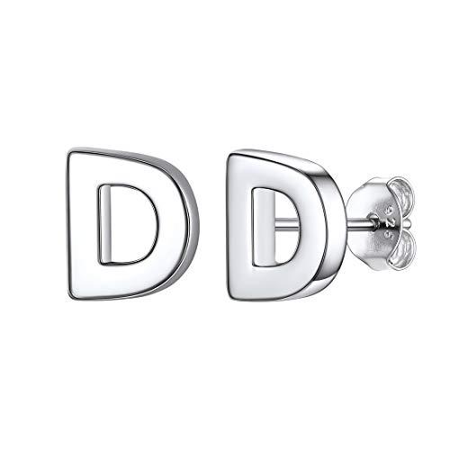 D Pendientes Brillos 26 Alfabeto Letras Iniciales Un Par Plata de Ley 925 Platino Plateado Joyería Moderna de Regalo