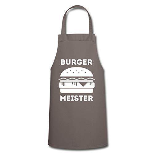 Spreadshirt Grillen Burger Meister Hamburger BBQ Kochschürze, Grau