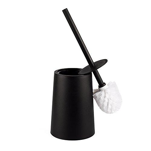 Santrue Schwarz WC Bürste und Halter Mit Deckel kunststoff Schwarz Toilettenbürste Mit Halter toilettenbürstenhalter Schwarz WC bürstenhalter
