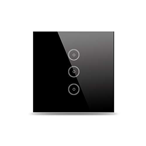 Preisvergleich Produktbild Jinvoo Smart Wi-Fi Wall Light Schalter, EU 3 gang panel switch-black, Smart Timing-Schalter, Fernbedienung Lichtschalter, Kompatibel mit Alexa Echo und Google Assistant