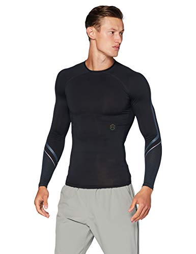 Under Armour Herren Rush ColdGear Run mit 1/2 Zip Langarmshirt, Schwarz, XL