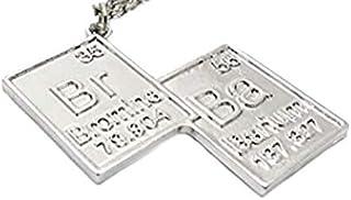 Legisdream Símbolos Colgante Collar Idea Química BR Regalo de Plata Ba Grado Festival de Amica corazón Unisex Novio