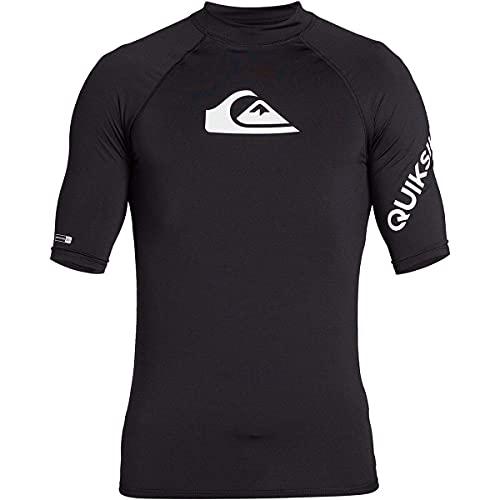 Quiksilver Men's All TIME SS Short Sleeve Rashguard SURF Shirt, Black, L